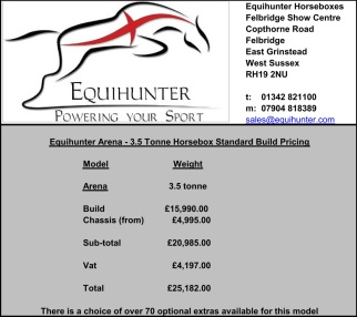 The Equihunter Arena 3.5 Tonne Horsebox Prices